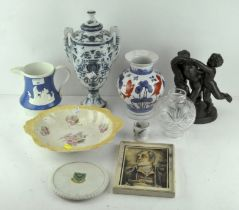 Assorted items, to include a two handled blue and white urn,
