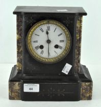 A 20th Century marble mantel clock, white enamel dial with Roman numerals, height 22.