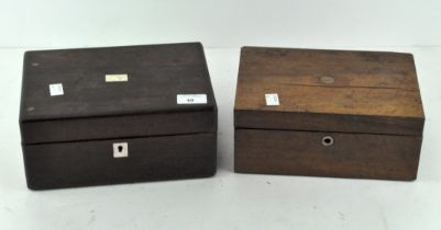 Two late 19th-early 20th century rectangular wooden sewing boxes,
