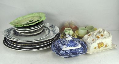 An extensive collection of ceramics, to include early blue and white meat plates,