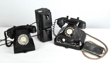 Two vintage telephones and ringers,