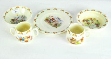 Five pieces of Bunnykins Royal Doulton child's ceramics