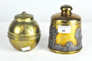 An early 20th century brass Liptons tea caddy together with a tobacco jar