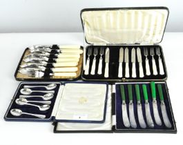 A collection of silver plated flatware,