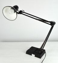A vintage anglepoise style desk lamp, black painted frame with enamel shade,