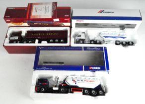 Three Corgi 1:50 scale model vehicles, including a Cawley Ross MAN TGA tipper CC13432,