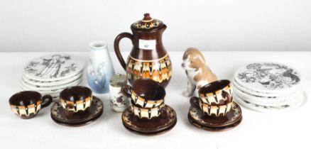 A Torquay coffee set in brown glaze