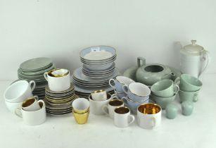 Three part tea services including: an Extravagant Porcelain gilt ground part coffee service,