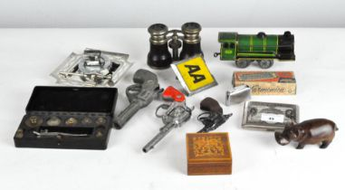 Three cap guns including one by Rustle;, together with other collectables