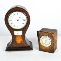 A vintage Solus electric travel clock together with an inlaid mantel clock