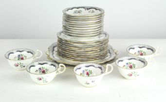 An Aynsley part tea service, including five cups, eleven saucers,