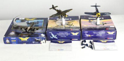 Three Corgi Aviation Archive plane models,