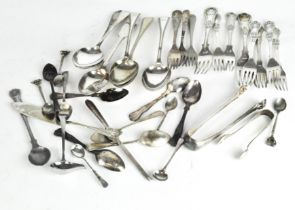 A selection of silver plated flatware including knives, forks, serving spoons, teaspoons,