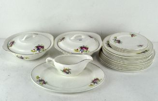 A Portland Pottery part dinner service, 6/1956, decorated with floral printed decoration of flowers,