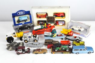 A collection of diecast together with play worn vehicles by Britains, Dinky and Matchbox