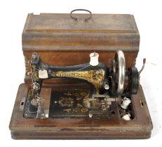 An antique Frister & Rossmann hand crank