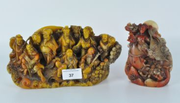 Two 20th century Chinese carved soapstone sculptures,