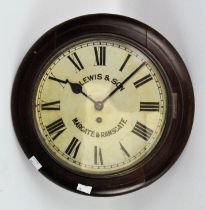 A large mahogany wall clock, white dial with Roman numerals