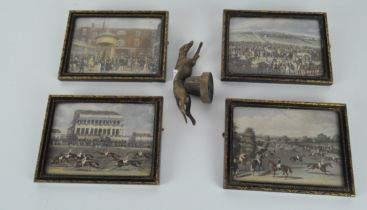 A cast metal model of a racing greyhound, together with four framed prints,