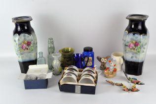 A quantity of glass and ceramics, including a Bristol Blue glass jug, signed to base,