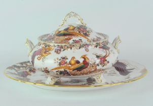 A Royal Crown Derby lidded dish with twin handles and an oval plate,