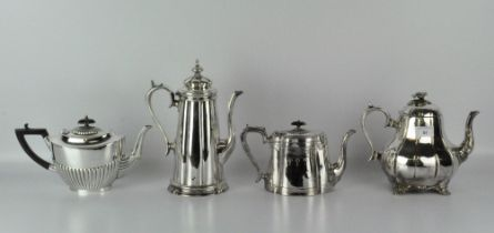 Three silver plated teapots, Victorian and later, including one by Thomas Otley & Sons,