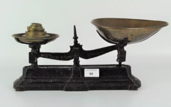 A set of Torquay W.G. Tuck and Son metal scales, with brass dish and weights