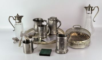 Two claret jugs with silver plated heads, together with and a quantity of other metalware,