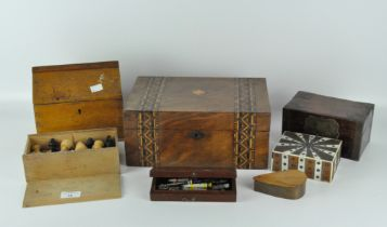 A collection of 20th century boxes, including a veneered example with straw work decoration,