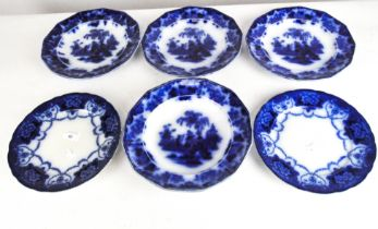 A set of three Oriental stone J & S Alcock Jr plates in the 'Scinde' pattern;