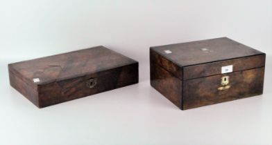 Two late 19th century inlaid wooden boxes,