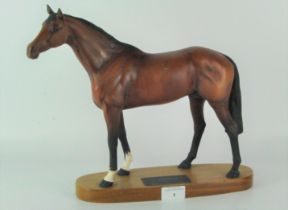 A Beswick model of 'Racehorse', standing on a wooden plinth with plaque,