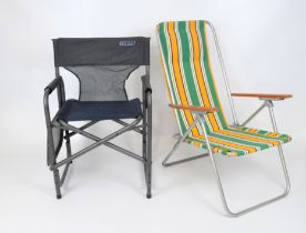 A vintage 371 deck chair with striped fabric,
