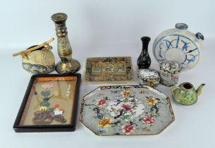 A collection of Asian ceramics, including dishes vases, pots and more, some with printed,