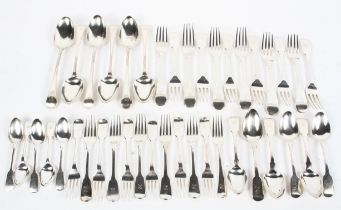 A collection of Georgian and later sterling silver flatware to include 6 x dessert spoons,