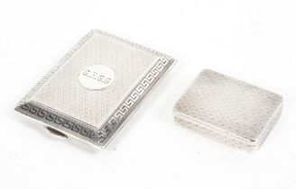 Two small sterling silver snuff boxes both with gilt interior by Ramsdem and Roed, London,