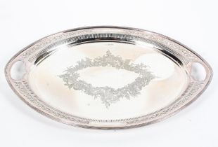 A sterling silver oval tray with pierced handles,