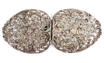 A Victorian silver nurse's belt buckle, hallmarked London, indistinct date code,