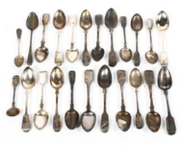 A large selection of assorted silver spoons, tea spoons and others,