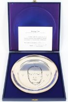 A sterling silver Churchill centenary plate designed by Annigioni, with engraved Churchill image,