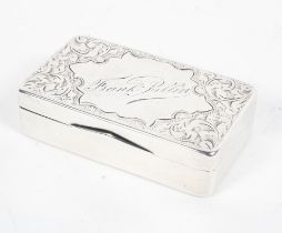 A sterling silver snuff box with chased decoration by Joseph Gloster, Birmingham, 1900,