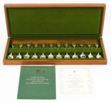 A Royal Horticultural society set of twelve limited edition silver and gold inlay flower spoons,