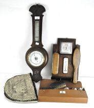 Two 20th century barometers and other items