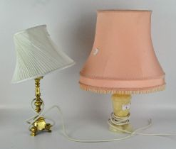 Two table lamps, one with stone base and pink shade, height 48cm,