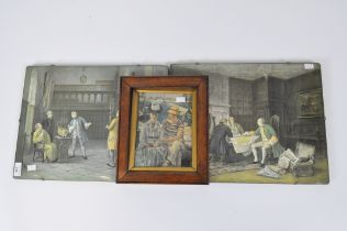 Three prints, including two of interior scenes and one other,