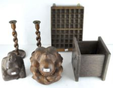 A collection of wooden wares, including a pair of oak barley twist candlesticks,