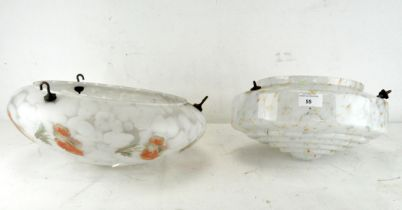 Two mid-century glass ceiling lamp shades, one being mottled glass,