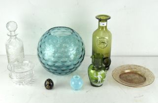 A collection of mixed coloured glass, including a Mary Gregory style pouring jug and more
