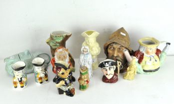 A large collection of Toby jugs and other ceramics, including a Sadler car shaped teapot, no 820236,
