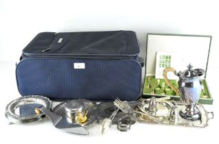 A collection of silver plated wares, including dishes and a hand mirror,